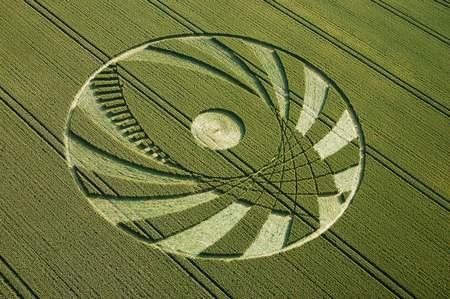 错综复杂大眼睛的几何形状的英国麦田怪圈Avebury威尔特郡09/07/05的图片