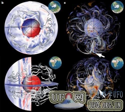 科学家搜集数百年资料重现地球磁场漂移情况的图片