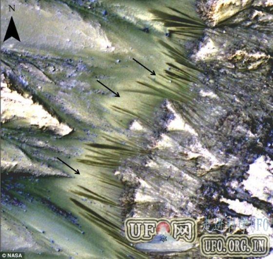 火星表面发现存液态水最有力证据的图片 第1张