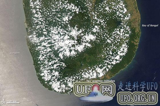 每日卫星照:斯里兰卡上空晴天积云的图片 第2张