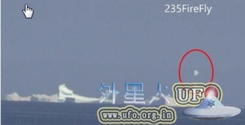 加拿大网友观赏冰山,意外拍到白色UFO出没的图片