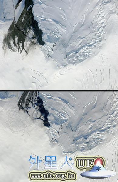"""美宇航局意外拍摄到""""冰震""""前后对比照片"""