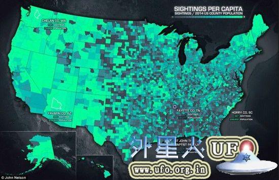 1925年-2014年UFO目击事件地图(UFO形状,目击时间&地点)