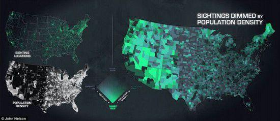 1925年-2014年UFO目击事件地图(UFO形状,目击时间&地点) 第3张