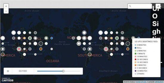 1925年-2014年UFO目击事件地图(UFO形状,目击时间&地点) 第5张
