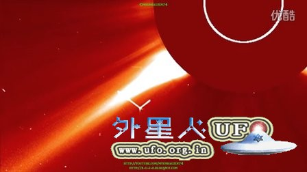 2016年2月22日太阳周围巨大的法杖形发光UFO的图片