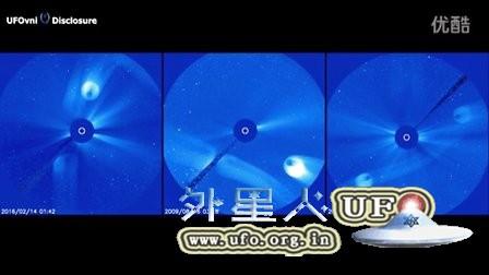 2016年2月14日监测太阳的卫星拍到第2个太阳UFO(2)的图片