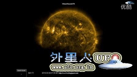 """2016年3月6日太阳SOHO视频被""""日食""""一小时的图片"""