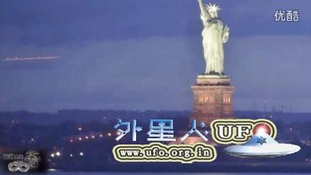 2016年3月4日自由女神像附近巨大长形发光UFO NYC的图片