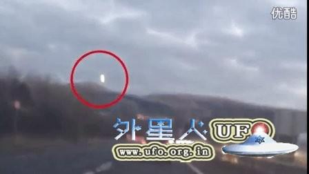 2016年3月12日苏格兰开车时拍到山顶的光球UFO的图片