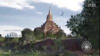 三角形UFO停留在寺庙上空的图片