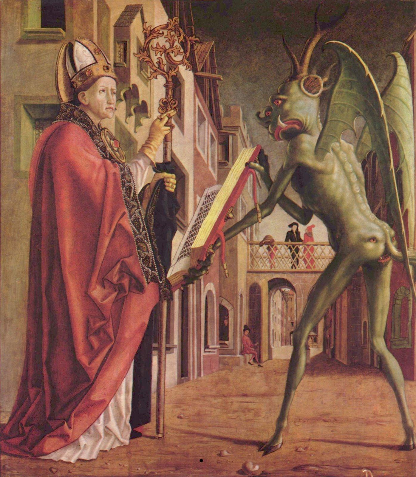 1475年的油画《圣·沃尔夫冈与恶魔》